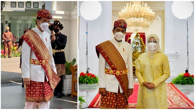 ADAT LAMPUNG. Saat Presiden RI bersama ibu negara menggunakan pakaian adat Lampung Pepadun pada Upacara HUT RI ke 76 di Istana Negara.