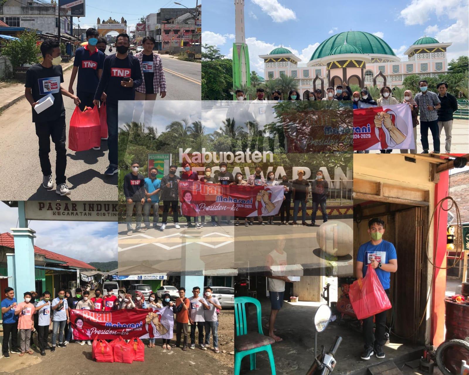BAKSOS. Komunitas TNP saat membagika nasi kota di 4 wilayah seperti Bandar Lampung, Kota Metro, Pesawaran dan Tanggamus. FOTO. DOK